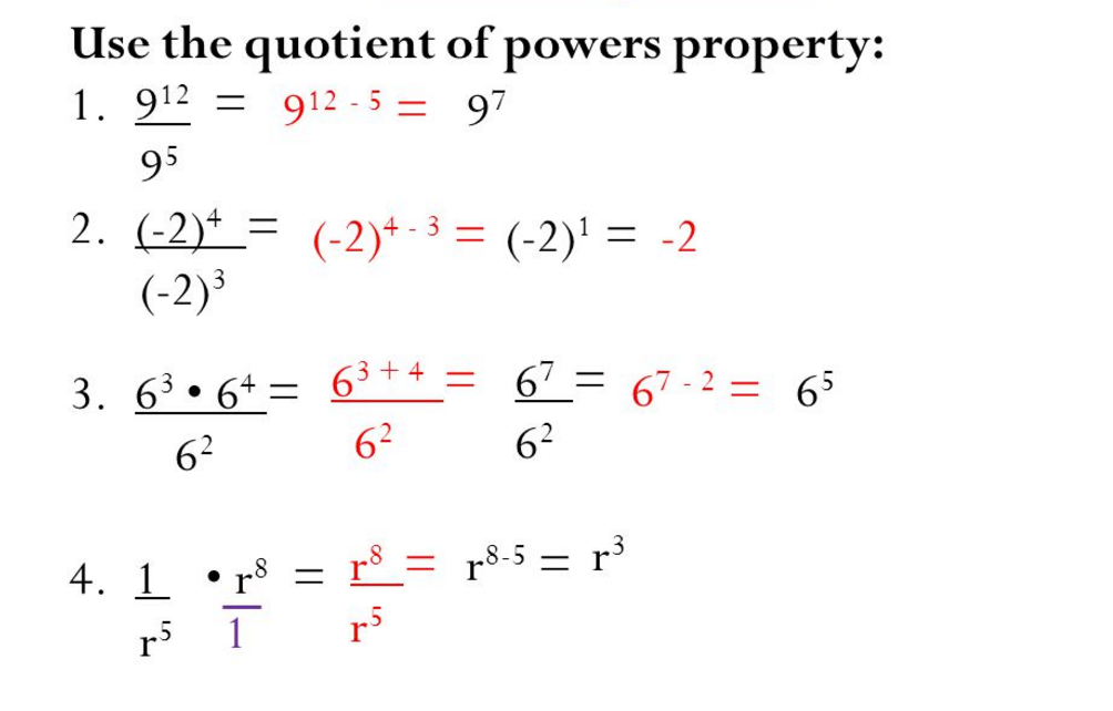 Exponent properties with quotients (division)
